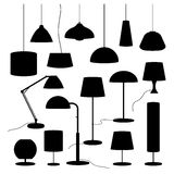 A set of silhouettes of household lamps and floor lamps Vector Royalty Free Stock Image
