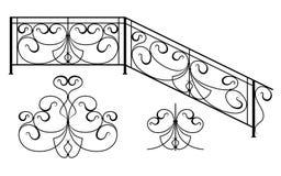 Set of silhouettes of iron fences Royalty Free Stock Photos