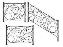Set of silhouettes of iron fences Stock Images