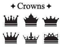 Set of silhouettes king crown or pope tiara.Vector illustration.  Royalty Free Stock Photography