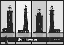 Set of silhouettes of large lighthouses Royalty Free Stock Image