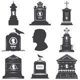 Set of silhouettes of male graves gravestones monuments. Set of images of silhouettes of male graves gravestones monuments. Male head silhouette on the stone Royalty Free Stock Photography