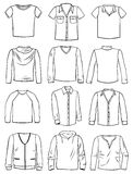Menswear. A set of silhouettes of mens shirts, t-shirts and sweaters Royalty Free Stock Photos