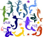 Set of silhouettes of mermaids Stock Images