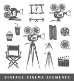 Set of silhouettes a movie. Vintage cinema elements: projector, film, 3D glasses, camera, popcorn, tripod, drink, ticket, chair, clapperboard, film strip. Set of Stock Image