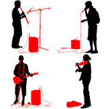 Set  silhouettes  musicians playing musical instruments. Vector Royalty Free Stock Photo