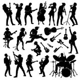 Set of silhouettes. Set of musicians with their instruments silhouettes Stock Photo