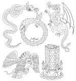 Set with silhouettes of mythological creatures. Set with hand drawn silhouettes of medieval mythological creatures and old castle tower, black and white graphic Royalty Free Stock Images