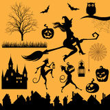 Set silhouettes of objects and characters on a Halloween theme  Stock Photo