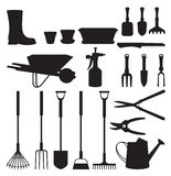 Set of silhouettes of objects garden tools Stock Photography