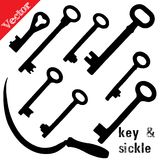 Set of silhouettes old keys and sickle Royalty Free Stock Photos