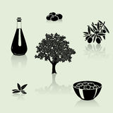 Set of silhouettes: olive tree, branch, fruit stock illustration