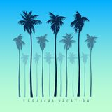 A set of silhouettes of palm trees in a realistic style on a yellow bright blue background. vector illustration