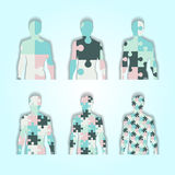 Set of silhouettes of people inside which is puzzle. Set of silhouettes of people inside which is puzzle stock illustration