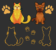 Set of Silhouettes of pets, cat and dog. Vector set of dog and cat silhouettes. Cat and dog looking forward in a cartoon style. Footprint silhouette royalty free illustration