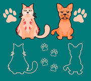 Set of Silhouettes of pets, cat and dog. Vector set of dog and cat silhouettes. Cat and dog looking forward in a cartoon style. Footprint silhouette vector illustration