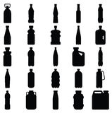 Set of silhouettes of plastic bottles and other containers Royalty Free Stock Image