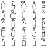 Set of silhouettes of plastic bottles and other containers Stock Image