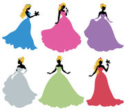 Set of silhouettes of princess. Isolated on white Stock Image