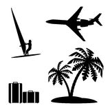 Set silhouettes recreation and tourism. Royalty Free Stock Image