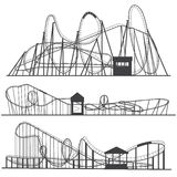 Set of silhouettes Roller coaster. Rollercoaster or amusement park rollers isolated on white background.  vector illustration