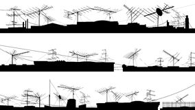 Set of silhouettes of roof with antennas. Stock Images