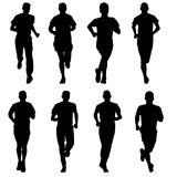 Set of silhouettes. Runners on sprint, man. Set of silhouettes Runners on sprint, man Stock Images