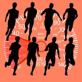 Set of silhouettes. Runners on sprint, men against the backgroun Royalty Free Stock Photos