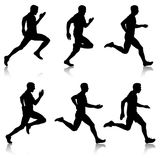 Set of silhouettes. Runners on sprint, men. Set of silhouettes. Runners on sprint men Stock Photography