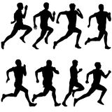 Set of silhouettes. Runners on sprint, men. vector Stock Image