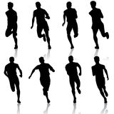 Set of silhouettes. Runners on sprint, men. vector. Illustration. This is file of EPS8 format Stock Photos