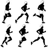 Set of silhouettes. Runners on sprint, men. Royalty Free Stock Photography