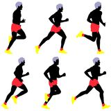 Set of silhouettes. Runners on sprint, men. Stock Image