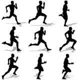 Set of silhouettes. Runners on sprint, men. Vector illustration Royalty Free Stock Images