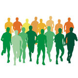 Set of silhouettes. Runners on sprint, men. vector. Set of silhouettes. Runners on sprint, men vector illustration Stock Images