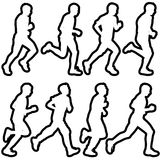 Set of silhouettes. Runners on sprint, men. vector Royalty Free Stock Images