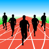 Set of silhouettes. Runners on sprint, men. vector Royalty Free Stock Photos