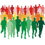 Set of silhouettes. Runners on sprint, men. vector. Set of silhouettes  Runners on sprint, men. vector illustration Royalty Free Stock Image