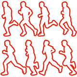 Set of silhouettes. Runners on sprint, men. vector. Set of silhouettes Runners on sprint, men. vector illustration Stock Photo
