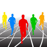 Set of silhouettes. Runners on sprint, men. vector. Set of silhouettes Runners on sprint, men. vector illustration Stock Photos