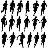 Set of silhouettes. Runners on sprint, men Royalty Free Stock Photography