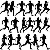 Set of silhouettes. Runners on sprint, men Stock Image