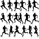 Set of silhouettes. Runners on sprint, men. vector. Set of silhouettes Runners on sprint men. vector illustration Royalty Free Stock Images