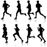 Set of silhouettes. Runners on sprint, men. Set of silhouettes. Runners on sprint men. vector illustration Royalty Free Stock Photos