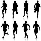 Set of silhouettes Runners on sprint men vector illustration. Set of silhouettes Runners on sprint, men vector illustration Royalty Free Stock Photo