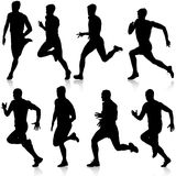 Set of silhouettes Runners on sprint men vector illustration. Set of silhouettes Runners on sprint, men vector illustration Royalty Free Stock Photos