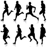 Set of silhouettes Runners on sprint men vector illustration. Set of silhouettes Runners on sprint, men vector illustration Stock Photos