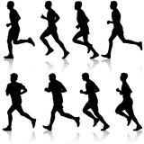Set of silhouettes Runners on sprint, men vector illustration. Set of silhouettes Runners on sprint men vector illustration Royalty Free Stock Photo
