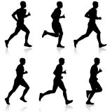 Set of silhouettes. Runners on sprint, men. Set of silhouettes Runners on sprint, men vector illustration Stock Image