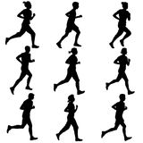 Set of silhouettes. Runners on sprint, men. Set of silhouettes Runners on sprint, men vector illustration Royalty Free Stock Photo